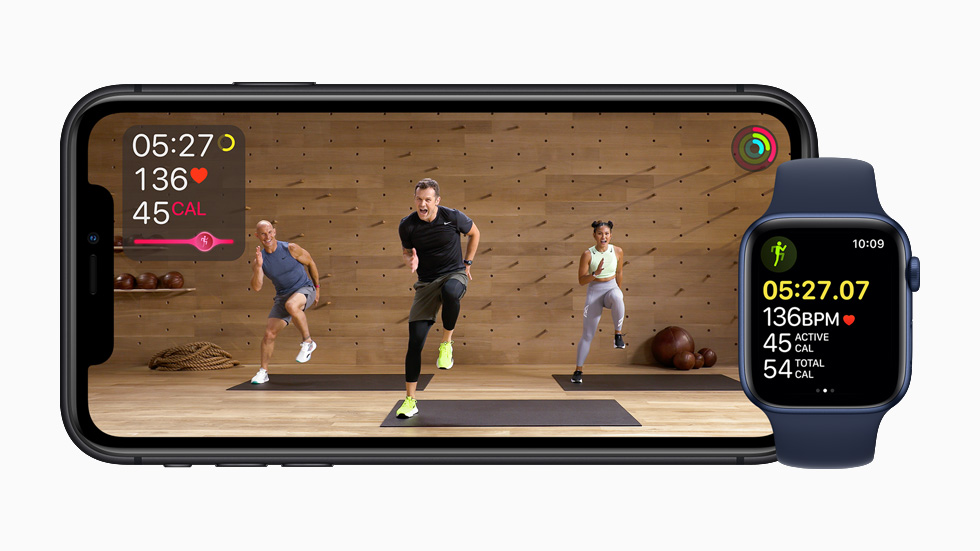 Apple Fitness+ studio class displayed on iPhone 11 Pro.