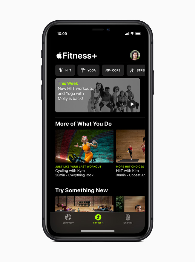 Apple Fitness+ home screen on iPhone 11 Pro.