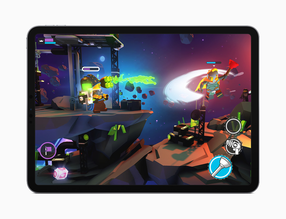 iPad showing Apple Arcade's LEGO Brawls.