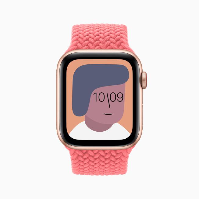 Artist watch face displayed on Apple Watch SE.