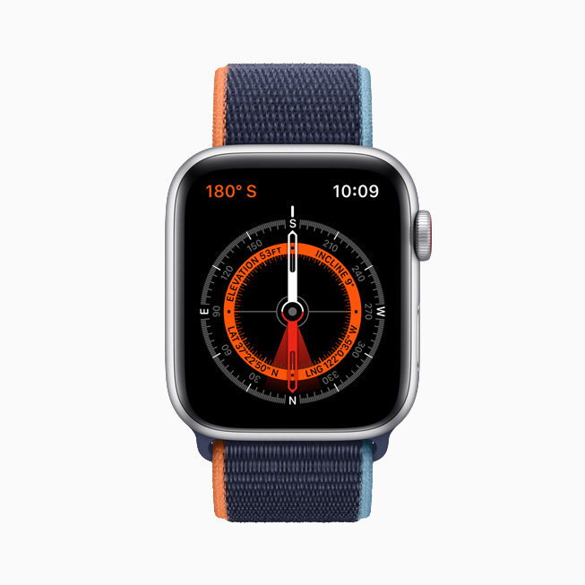Compass watch face displayed on Apple Watch SE.