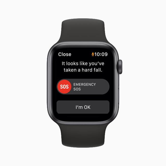 Emergency SOS displayed on Apple Watch SE.