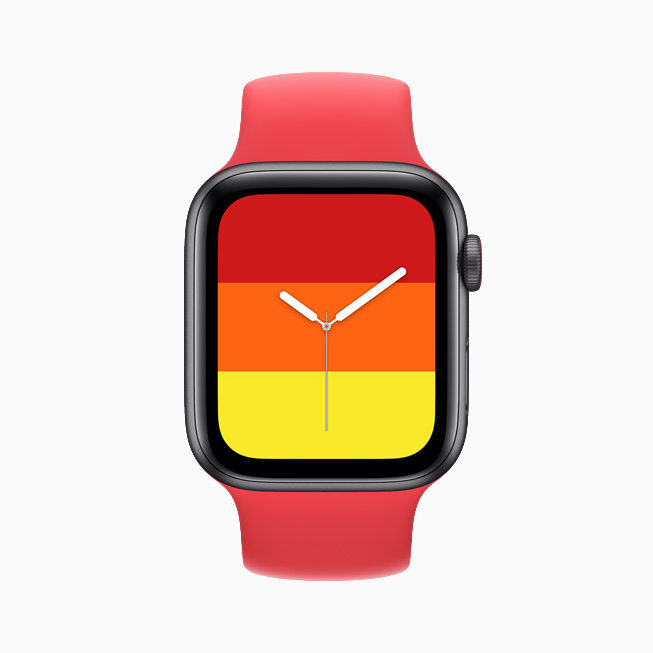Stripes watch face displayed on Apple Watch SE.