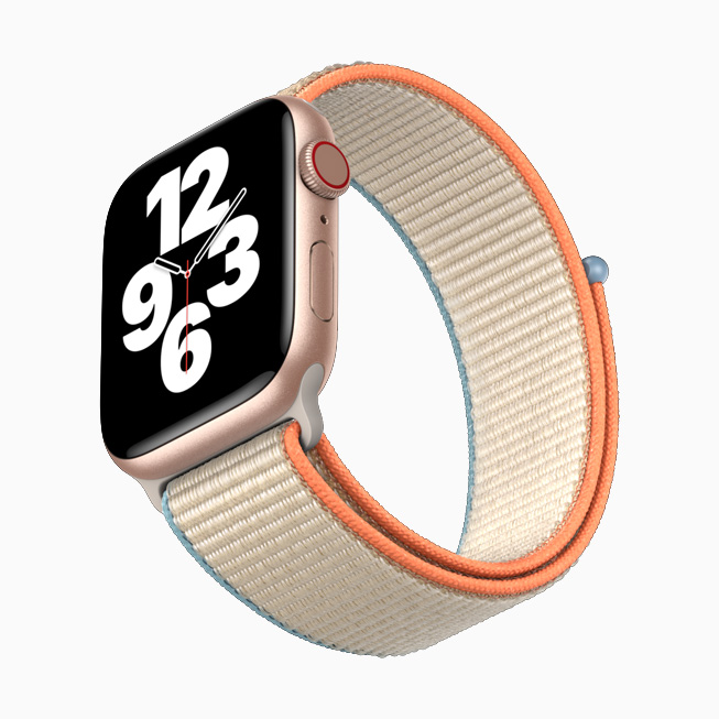Apple Watch SE with rose gold aluminium case and Sport Loop.