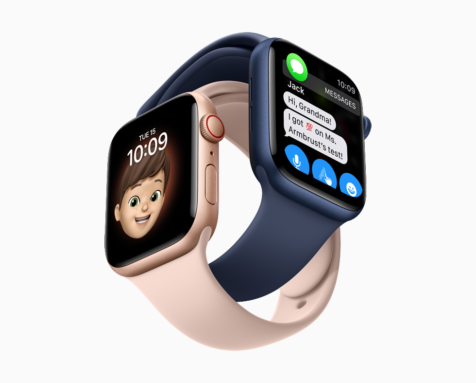 Memoji watch face and Messages on Apple Watch.