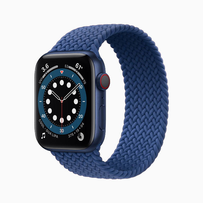 Apple Watch Series 6 with a blue aluminium case and blue Braided Solo Loop.