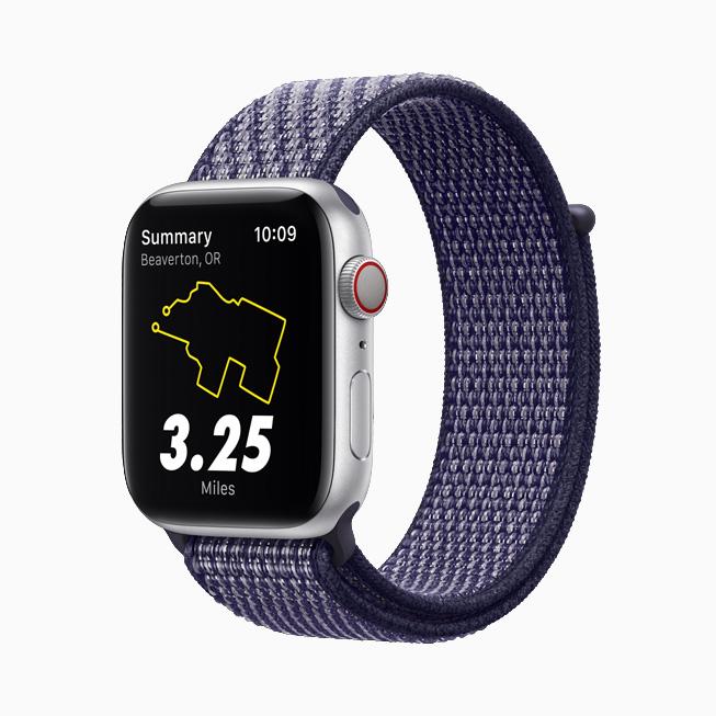 Apple Watch Nike with navy blue Sport Loop.