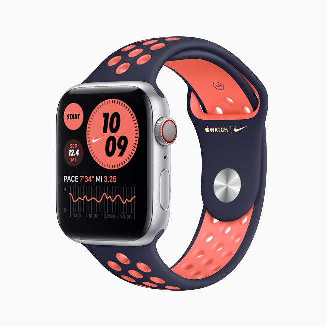 Apple Watch Nike with navy and orange Sport Band.