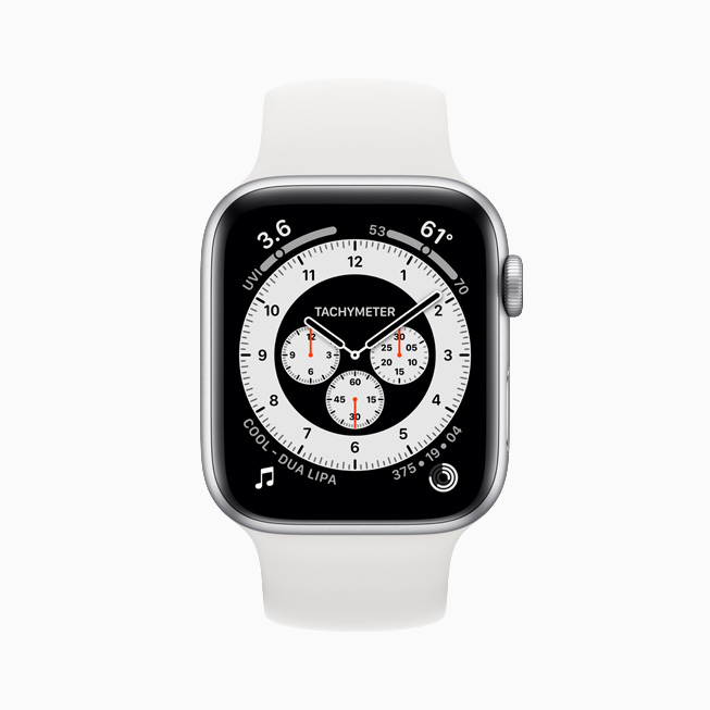 Chronograph Pro watch face displayed on Apple Watch Series 6.