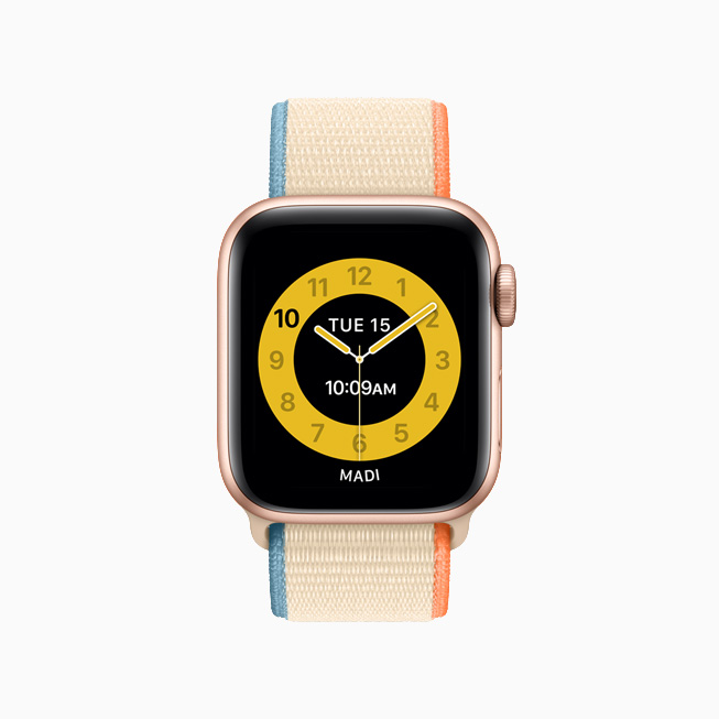 Schooltime yellow watch face on Apple Watch.