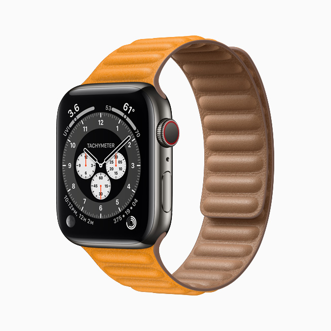 Apple Watch Series 6 with graphite stainless steel case.