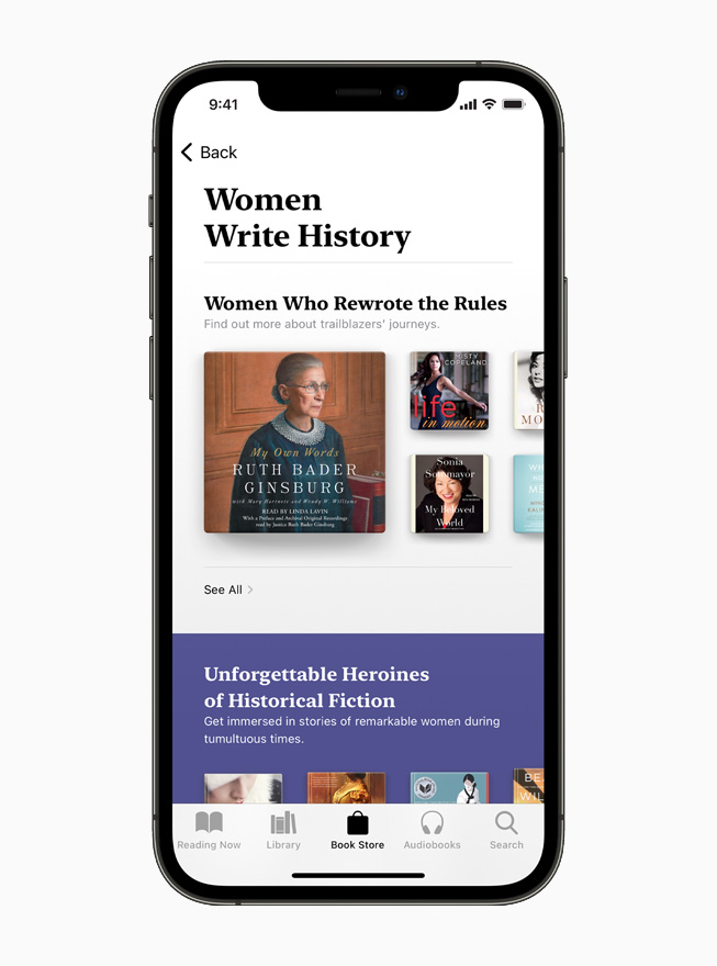 Women Write History collection of biographies and memoirs on Apple Books, displayed on iPhone 12.