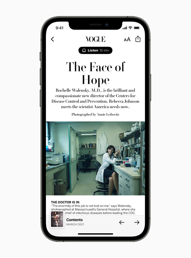 Vogue magazine profile of the Centers for Disease Control's new director, scientist Rochelle Walensky, on Apple News, displayed on iPhone 12.