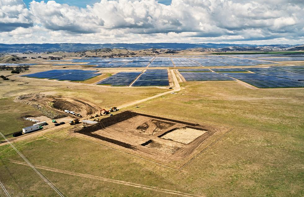 Construction at the California Flats solar farm.