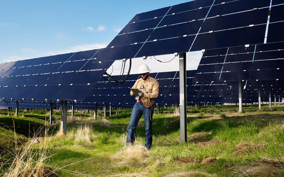 A technician at the California Flats solar farm.