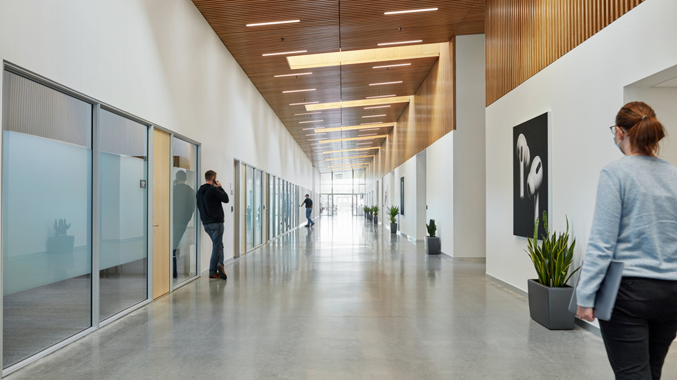 Airy interior hallway at the Viborg data centre.