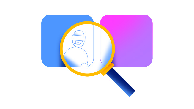 A magnifying glass reveals a thief behind an app tile, signifying fraudulent ratings and reviews.