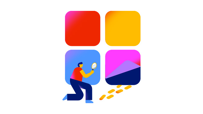 A figure with a magnifying glass inspects a trail of footprints, signifying Apple's proactive measures to root out fraud on the App Store.
