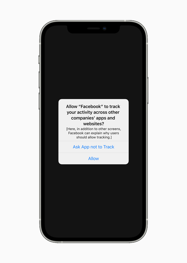 App Tracking Transparency notification displayed on iPhone 12.