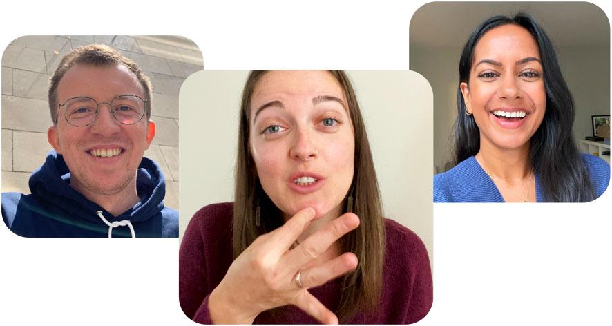 Групповой звонок FaceTime, вовремя которого один изсобеседников использует язык жестов