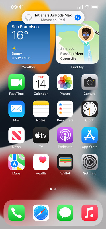 Image shows automatic switching notification on iPhone screen.