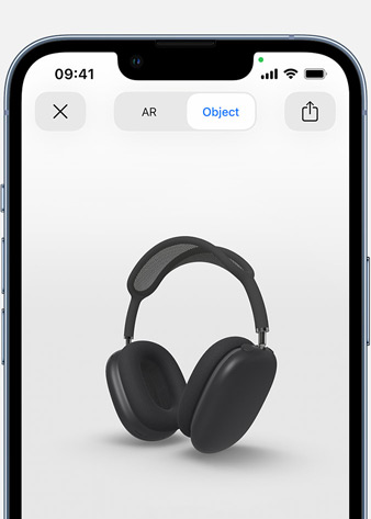 Image shows Space Grey AirPods Max in Augmented Reality screen on iPhone.