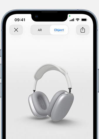 Image shows Silver AirPods Max in Augmented Reality screen on iPhone.