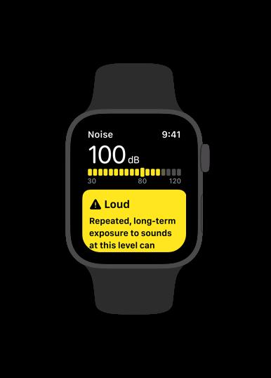 Noise app alert for loud sounds on Apple Watch.