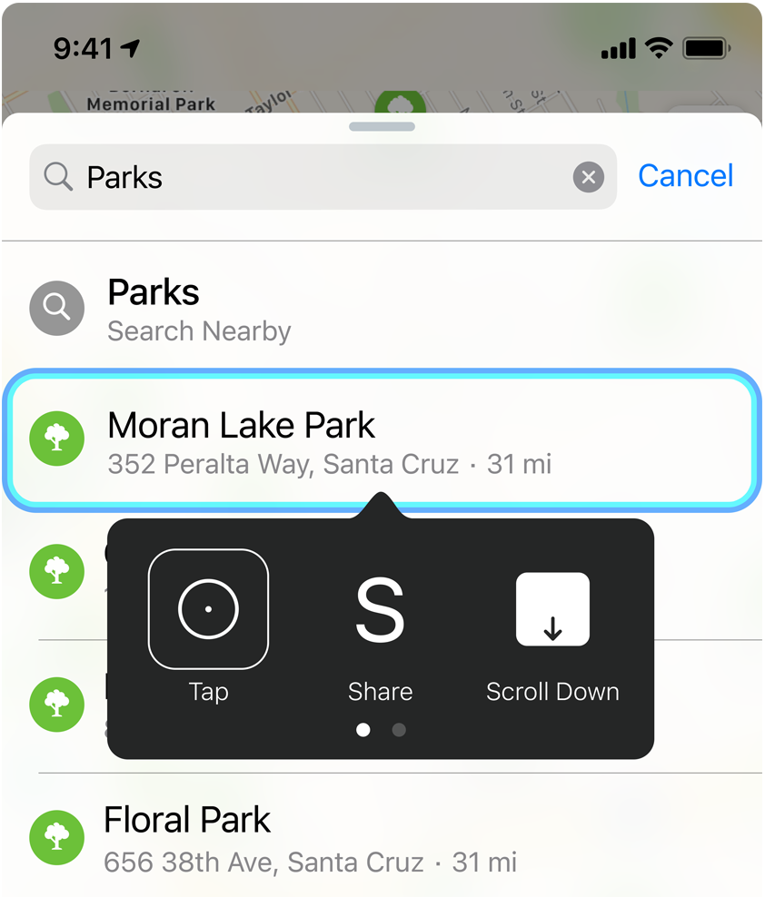 Switch Control navigating Apple Maps