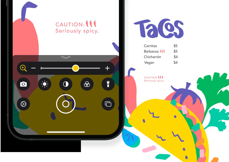 iPhone using Magnifier to enlarge restaurant menu