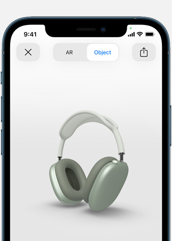 Image shows Green AirPods Max in Augmented Reality screen on iPhone.