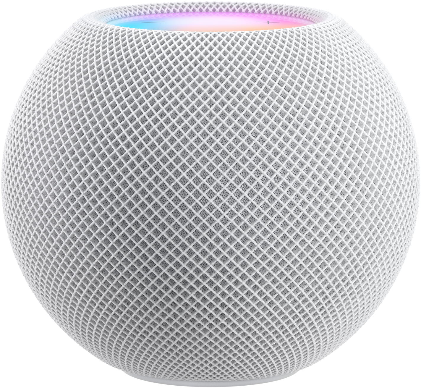 """White HomePod mini with colourful pixels in motion above it spelling the word """"mini""""."""