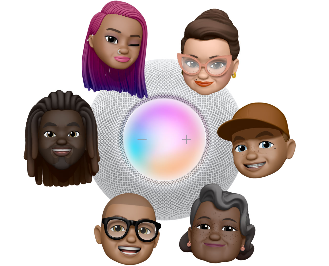 """6 different Memoji faces encircle a top view of a white HomePod mini. 3 characters say """"Hey, Siri"""" in blue speech bubbles."""