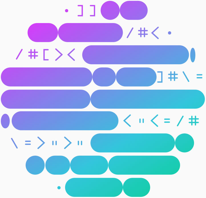 Colourful graphic of a circle made from different symbols and shapes representing encrypted information.