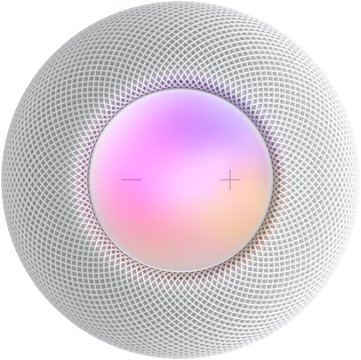 White HomePod mini top view with plus and minus volume controls and a colourful display under them.