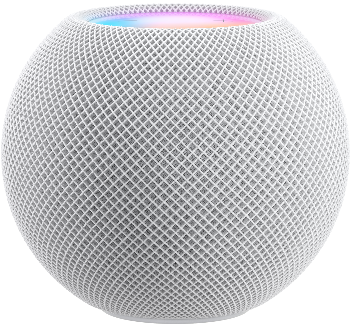 White HomePod mini with colourful top cap just visible over the edge.