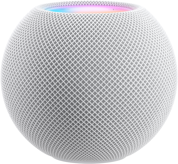 """White HomePod mini with colorful pixels in motion above it spelling the word """"mini."""""""