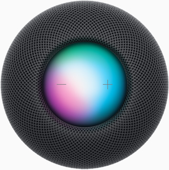 Space Gray HomePod mini from a top view with plus and minus volume controls and a colorful display under them.