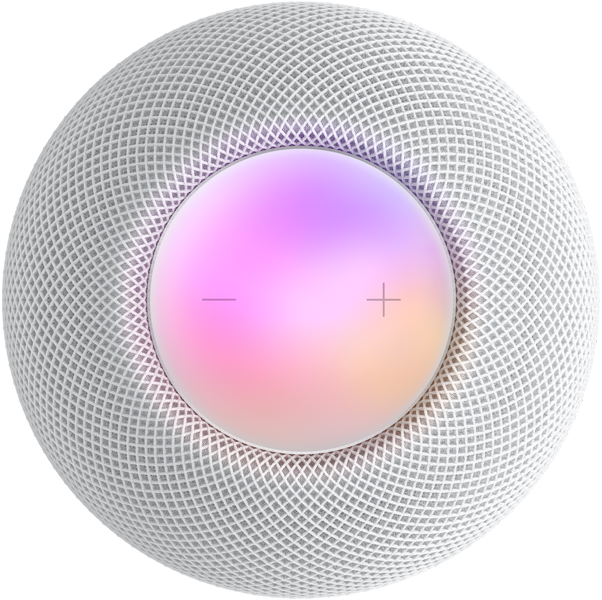 White HomePod mini top view with plus and minus volume controls and a colorful display under them.