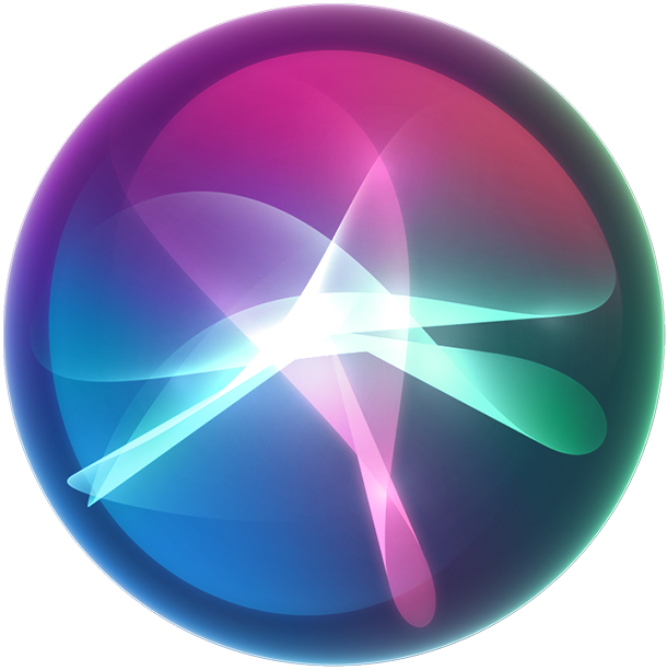 Graphic of colourful Siri waves in a bubble shape.