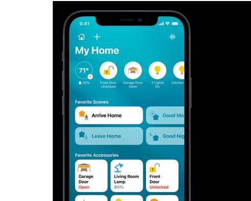 iPhone with HomeKit device graphics.