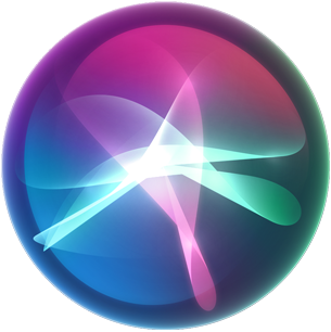 Graphic of colorful Siri waves in a bubble shape.