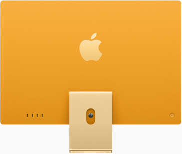 Back view of iMac in yellow