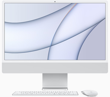 Front view of iMac in silver