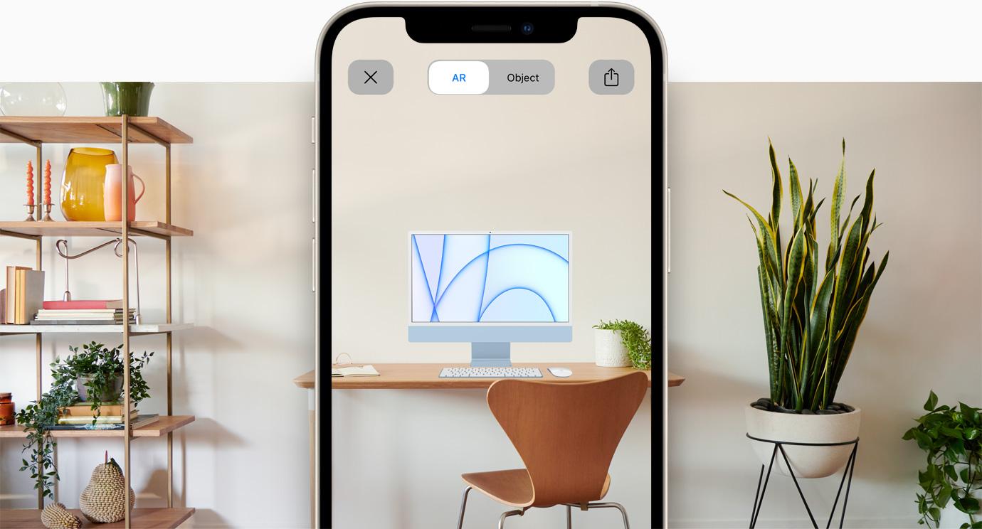 Previzualizare a experienței AR pentru iMac pe iPhone