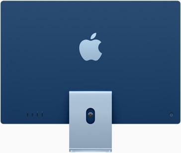 Vedere posterioară a iMac pe albastru