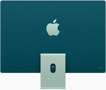 Vedere posterioară a iMac pe verde