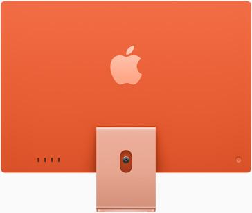 Vedere posterioară a iMac pe portocaliu