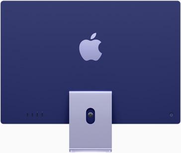 Vedere posterioară a iMac pe violet