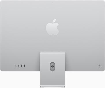 Vedere posterioară a iMac pe argintiu